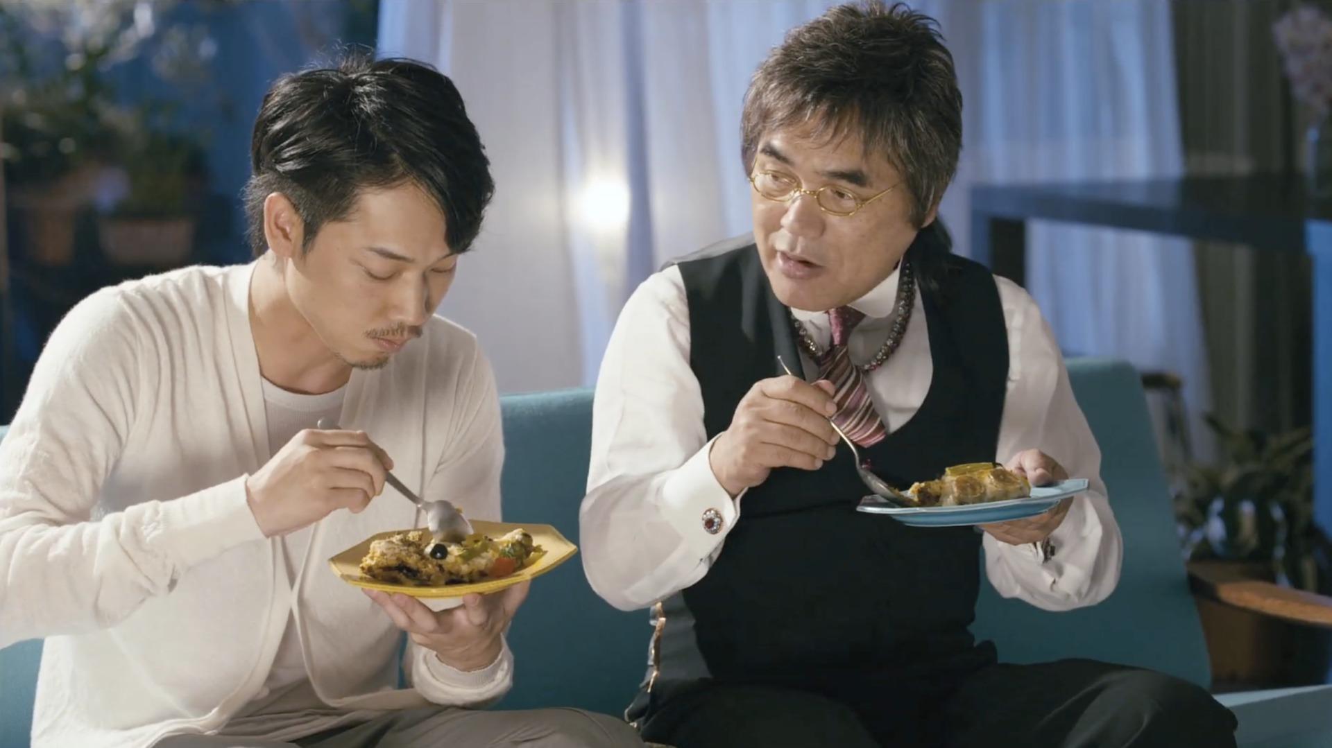 綾野剛さんと綾小路きみまろさんの実食